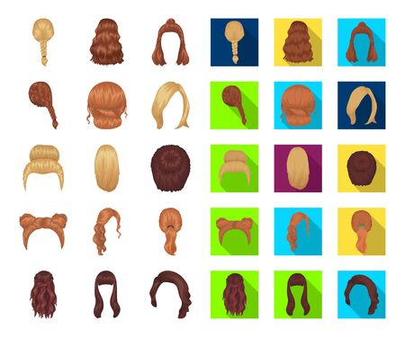 Female hairstyle cartoon,flat icons in set collection for design. Stylish haircut bitmap symbol stock web illustration.