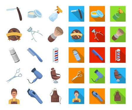 Barbershop and equipment cartoon,flat icons in set collection for design. Haircut and shave bitmap symbol stock web illustration. Banque d'images