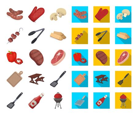 Barbecue and equipment cartoon,flat icons in set collection for design. Picnic and fried food bitmap symbol stock web illustration.