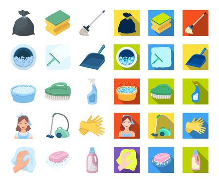 Cleaning and maid cartoon,flat icons in set collection for design. Equipment for cleaning bitmap symbol stock web illustration. Reklamní fotografie