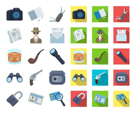 Detective and Attributes cartoon,flat icons in set collection for design.Detective Agency bitmap symbol stock web illustration.