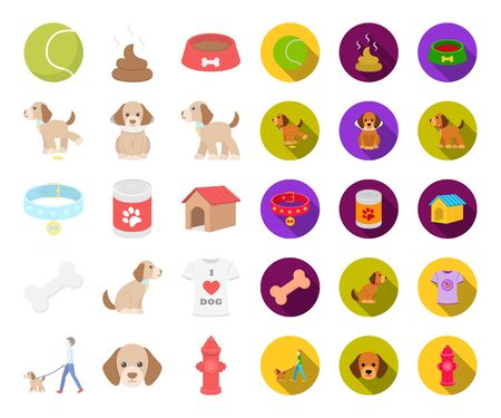 Pet dog cartoon,flat icons in set collection for design. Caring for the puppy bitmap symbol stock web illustration. Banco de Imagens