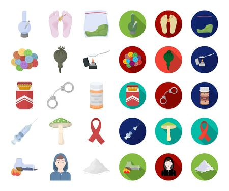 Drug addiction and attributes cartoon,flat icons in set collection for design. Addict and Drug bitmap symbol stock web illustration.
