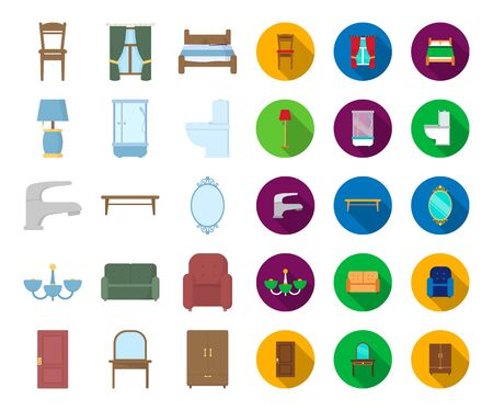 Furniture and interior cartoon,flat icons in set collection for design.Home furniture bitmap symbol stock web illustration.
