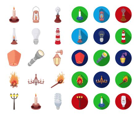 Light source cartoon,flat icons in set collection for design. Light and equipment bitmap symbol stock web illustration.