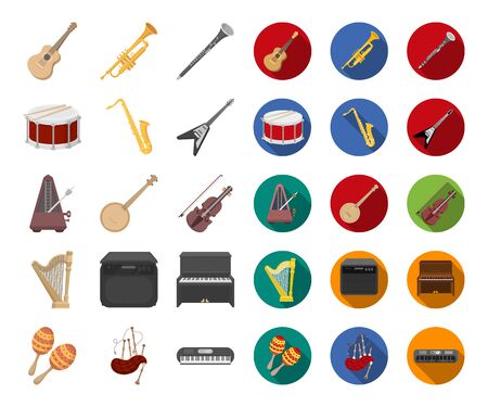 Musical instrument cartoon,flat icons in set collection for design. String and Wind instrument bitmap symbol stock web illustration. Stock Photo