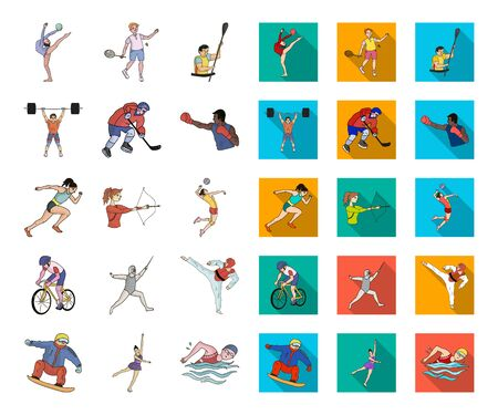 Different kinds of sports cartoon,flat icons in set collection for design. Athlete, competitions bitmap symbol stock web illustration. Stock Photo