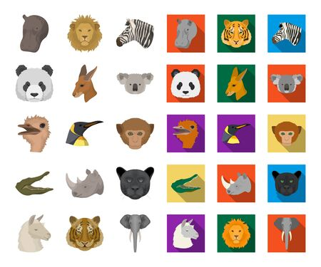 Wild animal cartoon,flat icons in set collection for design. Mammal and bird bitmap symbol stock web illustration. Stok Fotoğraf
