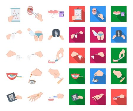 Manipulation by hands cartoon,flat icons in set collection for design. Hand movement in medicine bitmap symbol stock web illustration.