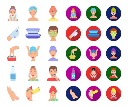 Skin care cartoon,flat icons in set collection for design. Face and body bitmap symbol stock web illustration. Stockfoto