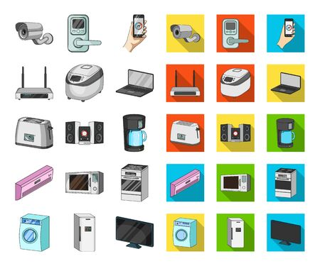 Smart home appliances cartoon,flat icons in set collection for design. Modern household appliances bitmap symbol stock web illustration.