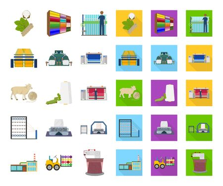 Textile industry cartoon,flat icons in set collection for design.Textile equipment and fabrics bitmap symbol stock web illustration.