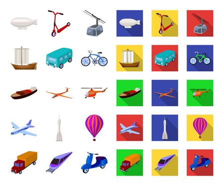 Different types of transport cartoon,flat icons in set collection for design. Car and ship bitmap symbol stock web illustration.