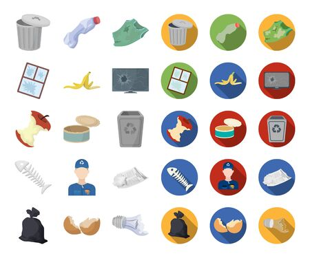 Garbage and waste cartoon,flat icons in set collection for design. Cleaning garbage bitmap symbol stock web illustration.