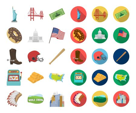 USA country cartoon,flat icons in set collection for design.Travel and attractions bitmap symbol stock web illustration. 스톡 콘텐츠