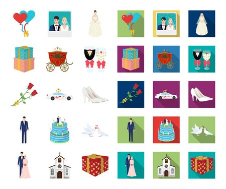 Wedding and Attributes cartoon,flat icons in set collection for design. Newlyweds and Accessories bitmap symbol stock web illustration. Stock Photo