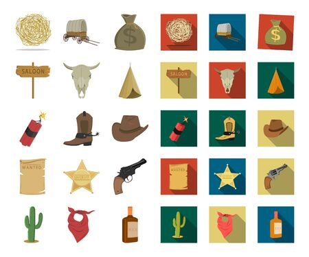 Attributes of the wild west cartoon,flat icons in set collection for design.Texas and America bitmap symbol stock web illustration. Stock Photo