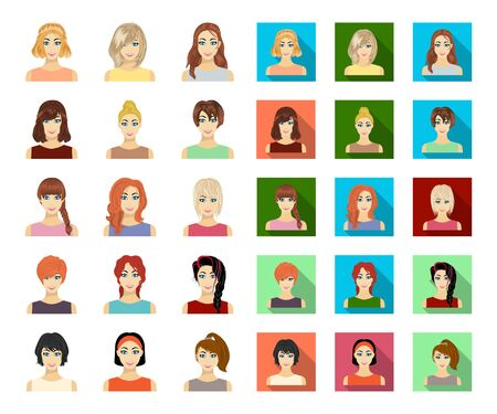 Types of female hairstyles cartoon,flat icons in set collection for design. Appearance of a woman bitmap symbol stock web illustration.