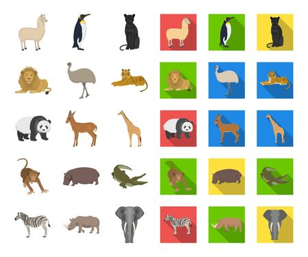 Different animals cartoon,flat icons in set collection for design. Bird, predator and herbivore bitmap symbol stock web illustration.