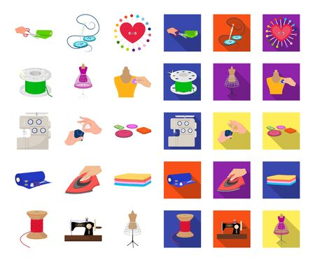 Atelier and equipment cartoon,flat icons in set collection for design. Sewing of outer clothing bitmap symbol stock web illustration.