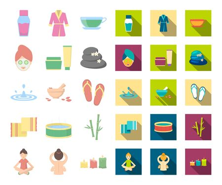 Spa salon and equipment cartoon,flat icons in set collection for design. Relaxation and rest bitmap symbol stock web illustration.