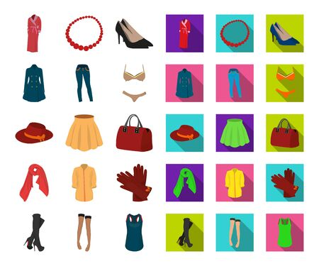 Womens Clothing cartoon,flat icons in set collection for design.Clothing Varieties and Accessories bitmap symbol stock web illustration.