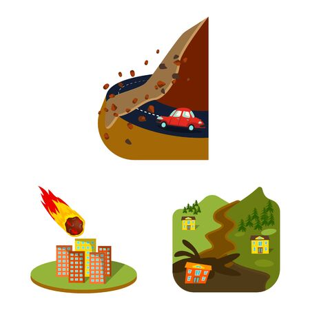 Isolated object of cataclysm and disaster sign. Collection of cataclysm and apocalypse stock vector illustration. Illustration