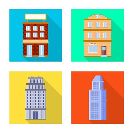 Vector illustration of municipal and center icon. Collection of municipal and estate stock vector illustration.