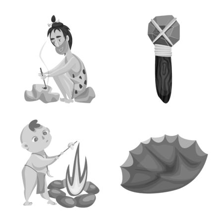 Vector illustration of survival and history icon. Collection of survival and prehistory vector icon for stock.