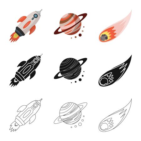 Isolated object of astronomy and technology symbol. Set of astronomy and sky vector icon for stock. Illustration