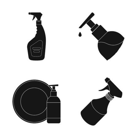 bitmap design of sprayer and liquid. Collection of sprayer and pesticide stock symbol for web.