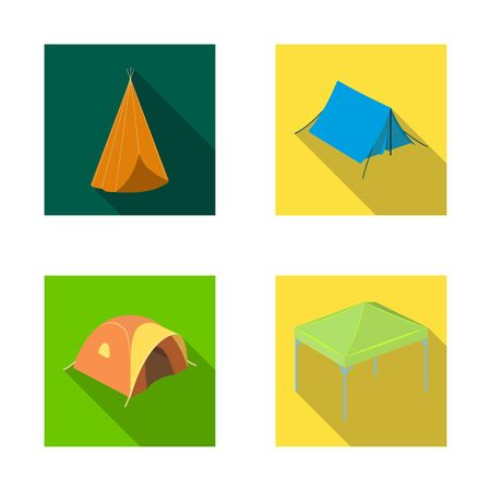 bitmap illustration of tent and camp symbol. Set of tent and forest stock symbol for web.