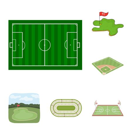 Isolated object of field and sport. Collection of field and game stock bitmap illustration. Foto de archivo