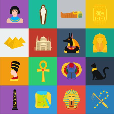 Ancient Egypt cartoon icons in set collection for design. The reign of Pharaoh bitmap symbol stock web illustration.