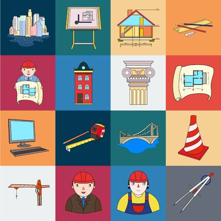 Architecture and construction cartoon icons in set collection for design. Architect and equipment bitmap symbol stock web illustration.