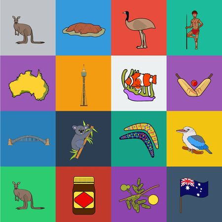 Country Australia cartoon icons in set collection for design.Travel and attractions bitmap symbol stock web illustration.