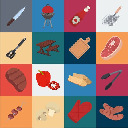 Barbecue and equipment cartoon icons in set collection for design. Picnic and fried food bitmap symbol stock web illustration. Stockfoto