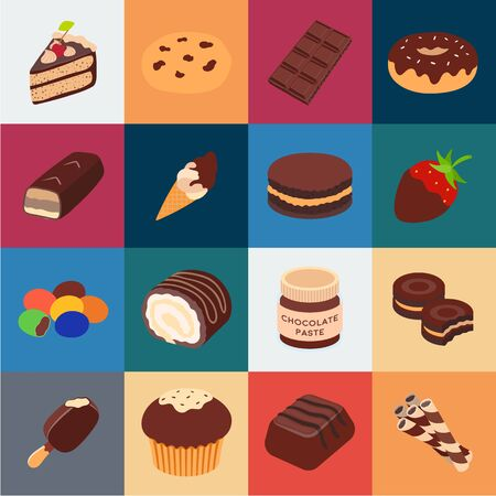 Chocolate Dessert cartoon icons in set collection for design. Chocolate and Sweets bitmap symbol stock web illustration.