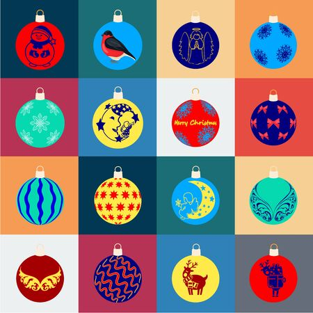 Christmas toys cartoon icons in set collection for design.New Year balls bitmap symbol stock web illustration.