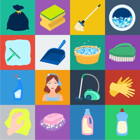 Cleaning and maid cartoon icons in set collection for design. Equipment for cleaning bitmap symbol stock web illustration.
