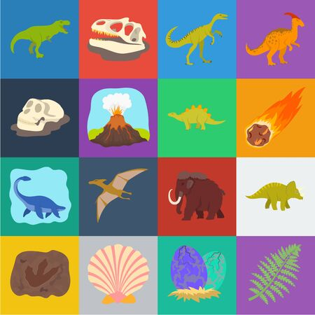 Different dinosaurs cartoon icons in set collection for design. Prehistoric animal bitmap symbol stock web illustration. Stock Photo