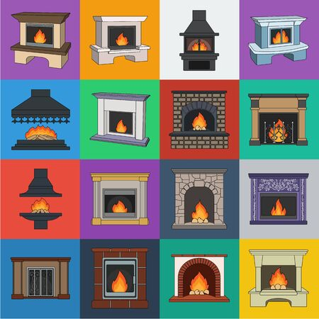 Different kinds of fireplaces cartoon icons in set collection for design.Fireplaces construction bitmap symbol stock web illustration.