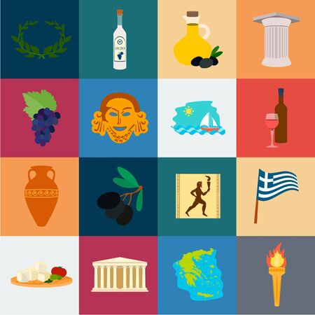 Country Greece cartoon icons in set collection for design.Greece and landmark bitmap symbol stock web illustration. Stock Photo