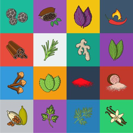Herb and spices cartoon icons in set collection for design.Different kinds of seasonings bitmap symbol stock web illustration.