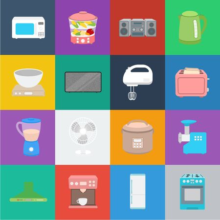 Types of household appliances cartoon icons in set collection for design.Kitchen equipment bitmap symbol stock web illustration. Imagens