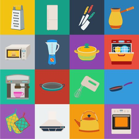 Kitchen equipment cartoon icons in set collection for design. Kitchen and accessories bitmap symbol stock web illustration.