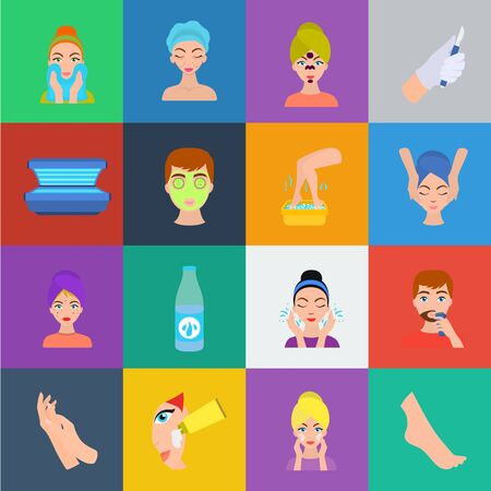 Skin care cartoon icons in set collection for design. Face and body bitmap symbol stock web illustration. Stockfoto - 127717173