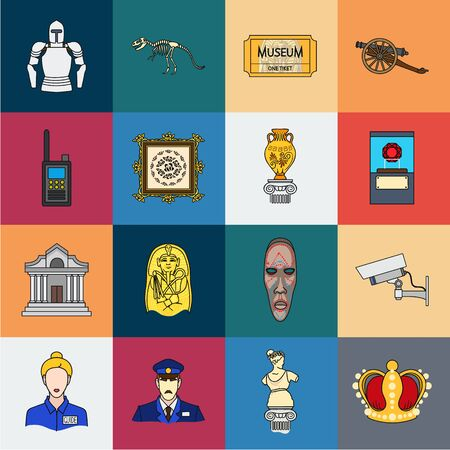 Museum and gallery cartoon icons in set collection for design. Storage and exhibition of showpiece bitmap symbol stock web illustration. Stock Photo
