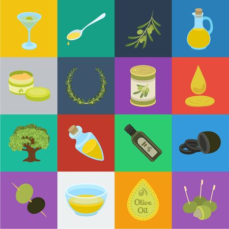 Olive, food cartoon icons in set collection for design. Olive oil, seasoning bitmap symbol stock web illustration. Фото со стока