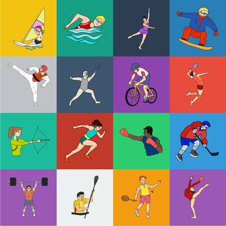 Different kinds of sports cartoon icons in set collection for design. Athlete, competitions bitmap symbol stock web illustration.